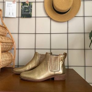 NEW Madewell Gold Chelsea Boots